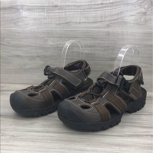Flat tire leather brown strap hiking sandal size 9